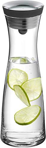 WMF Basic Wasserkaraffe aus Glas, 1 Liter, Glaskaraffe mit Deckel, Silikondeckel, CloseUp-Verschluss