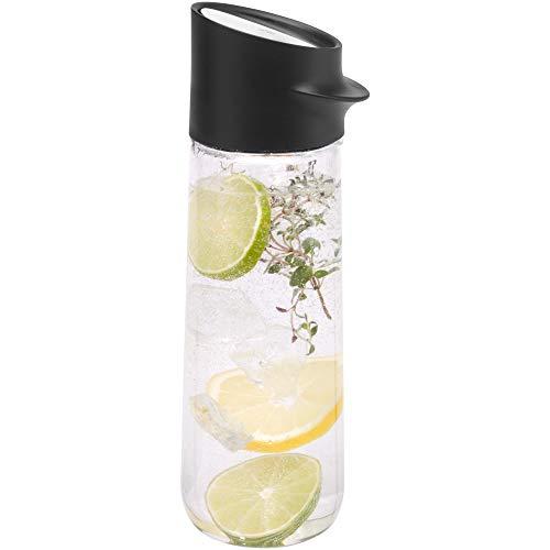 WMF Nuro Wasserkaraffe 1,0l, Höhe 29,7 cm, Glas-Karaffe, CloseUp-Verschluss, schwarz