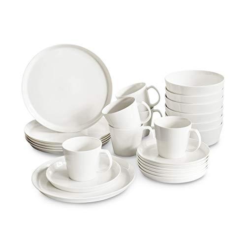 Porzellan Geschirrset 24 tlg. Svea, Weißes Geschirrservice für 6 Personen aus New Bone, skandinavisches Design