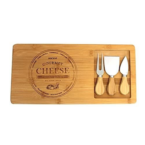 Käsebrett mit 2 Messern und einer Gabel aus Bambus und Edelstahl