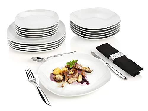 Sänger Tafelservice Bilgola 18 teiliges Geschirr-Service für 6 Personen Porzellan, Speise-, Suppen- und Dessertteller, erweiterbar, Alltag, besonderes Dinner, eckige Teller mit elegantem Design