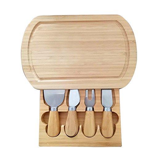 Käsebrett Käseplatte Servierbrett Cheese Board aus umweltfreundlichem Bambus mit Hobel Gabel Messer Schublade
