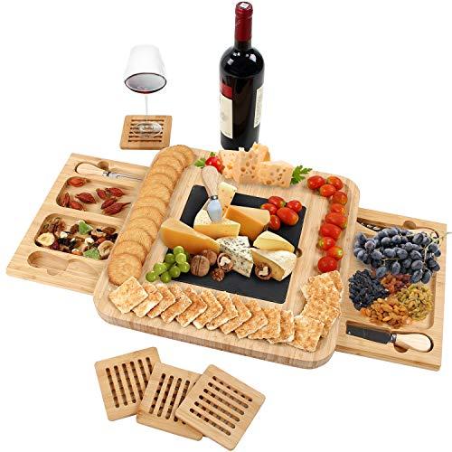 Grandma Shark Bambus Käsebrett, käseplatte zum Schneiden von Obst und Lebensmitteln, Geeignet für Picknicks und Partys (Quadrat)
