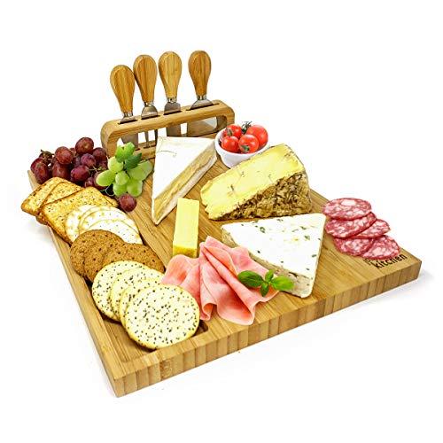 joeji's Kitchen Ultimatives Käsebrett-Geschenkset mit Messer/Hochwertiges Bambus-Holz Servierbrett/Schneidebrett mit Käsemesser Set -Perfekt für Weihnachts, Hochzeits- und Einweihungsgeschenke