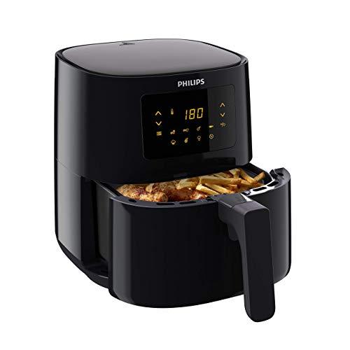 Philips Airfryer L, Heißluftfritteuse ohne Öl, 4.1 L, 1400 W, Warmhaltefunktion, Digitales Display mit 7 Programmen, NutriU App Rezepte, Schwarz, HD9252/90